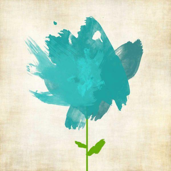 Brush Stroke Flowers Blue I