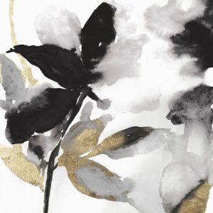 Black Petals Gold Leaves I
