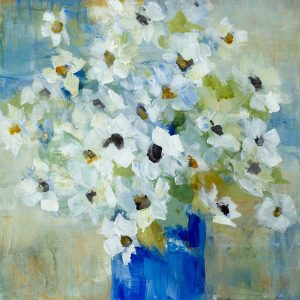 Pop of White Flowers in Blue Vase