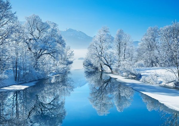 Winter landscape at Loisach, Germany