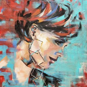 Girl with square Earrings