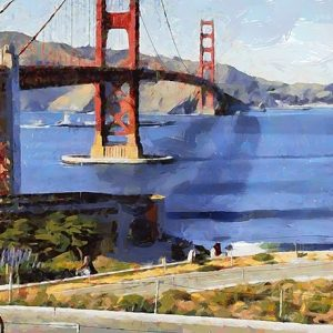 Cyclist by Golden Bridge